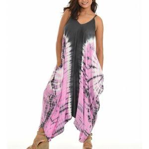 🆕Boho Pink & Black Tie-Dye Sleeveless Jumpsuit